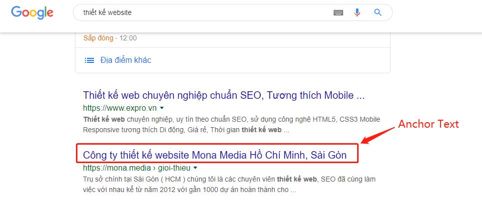 Anchor Text trong kết quả tìm kiếm.